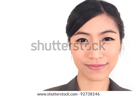 Close up Asian Business woman on white background