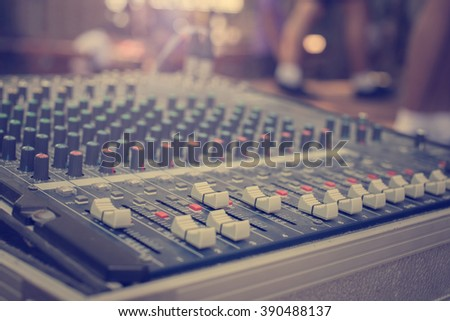 close up audio mixing console...