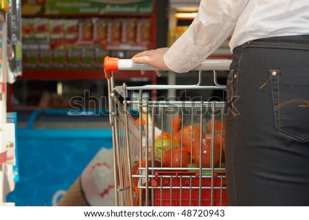 Close up back and market basket with food articles