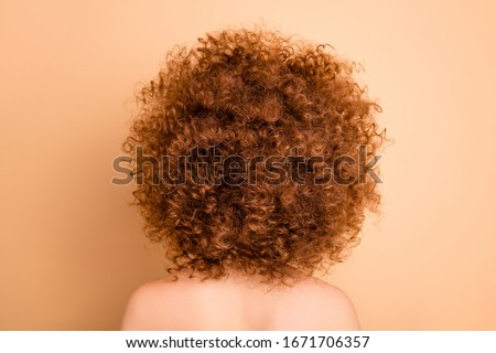 Close up back rear behind view photo beautiful she her wear no clothes nude lady showing cool design salon stylist curls perms roller curlers tint cool result isolated beige pastel background