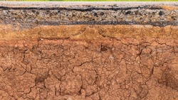 Close-up background, cross-sectional surface, cracked soil layer under the side of an eroded country road.