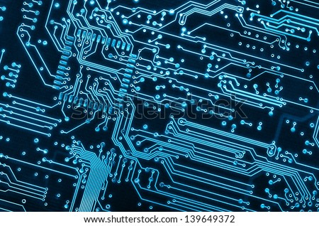 close up background of a blue electronic circuit board #139649372