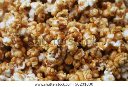 Close up background texture of Caramel Popcorn