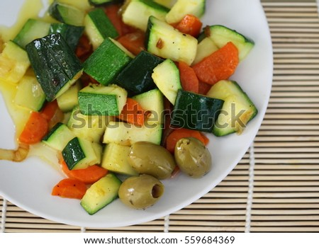 close-up background with healthy mediterranean vegetables and olives #559684369