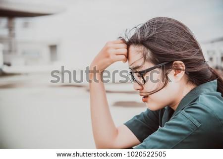 Close up beautiful asian woman wear glasses,Thai girl very pretty,sad woman concept,heartbreak from love,broken heart from boyfriend #1020522505