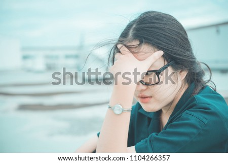 Close up beautiful asian woman wear glasses,Thai girl very pretty,sad woman concept,heartbreak from love,broken heart from boyfriend #1104266357