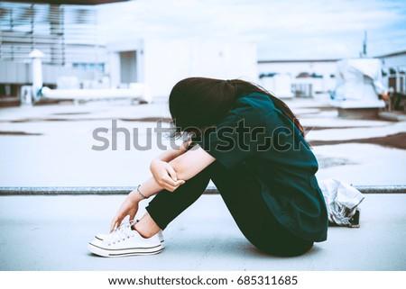 Close up beautiful asian woman wear glasses,Thai girl very pretty,sad woman concept,heartbreak from love,broken heart from boyfriend #685311685