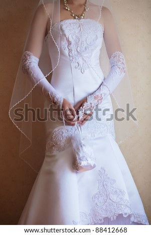 Close up beautiful bride's hands in wedding day.