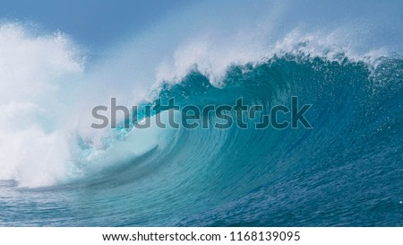 CLOSE UP: Beautiful deep blue tube wave in the wild Pacific Ocean curls towards a remote tropical island on a sunny day in summer. Spectacular shot of wild barrel wave coming from the exotic sea. #1168139095