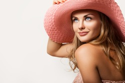 Close up Beautiful Girl, Young Woman Portrait. Attractive Woman Profile. Woman in a Peach Hat on her Head, Beautiful Model Face and Soft Skin. Beauty Portrait of Summer Gi, the Woman's Face