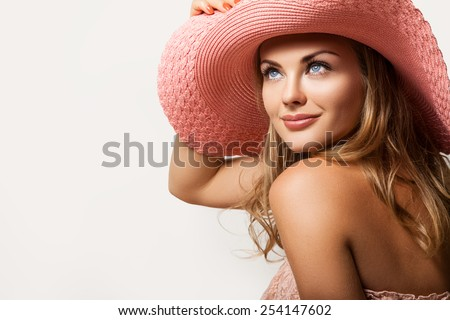 Close up Beautiful Girl, Young Woman Portrait. Attractive Woman Profile. Woman in a Peach Hat on her Head, Beautiful Model Face and Soft Skin. Beauty Portrait of Summer Gi, the Woman's Face        #254147602