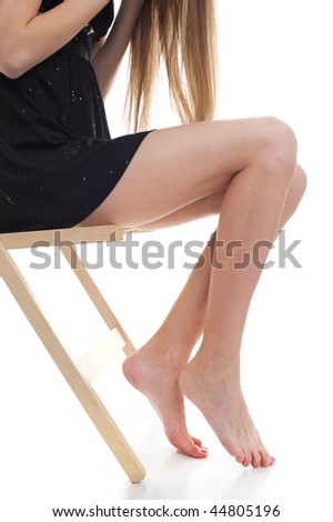 Close up beautiful legs, over white background