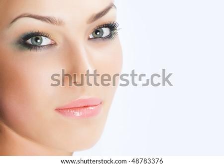 Close-up beautiful luxury fresh fresh face with beautibul make up