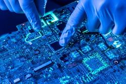 close up beautiful nano electronic technology board