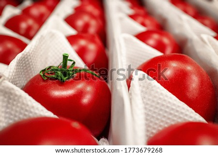 Close-up. Beautiful, ripe tomatoes in a white crate box. Red summer vegetables. Natural organic food. High quality photo