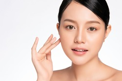 close up Beautiful Young asian Woman with Clean Fresh Skin. Face care . Facial treatment. Cosmetology, beauty and spa. Asian women portrait