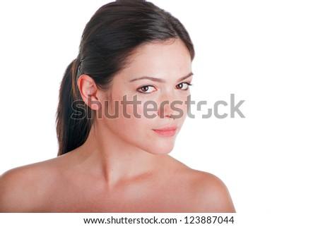 Close-up, beauty portrait beautiful brunette woman