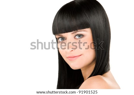 close-up beauty portrait of young caucasian woman with perfect haircut
