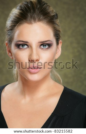 Close up beauty portrait, Young attractive woman face