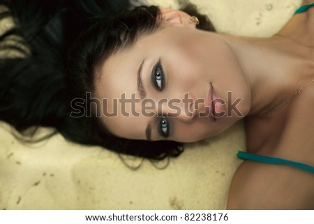 close up, beauty woman's face,