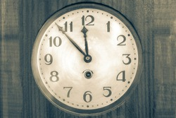 Close-up black and white clock, wall clock,Old Vintage antique clock, Retro styled clock, time concept