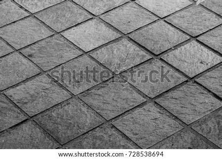 Close Up Black And White Tiled Floor Texture And Background For
