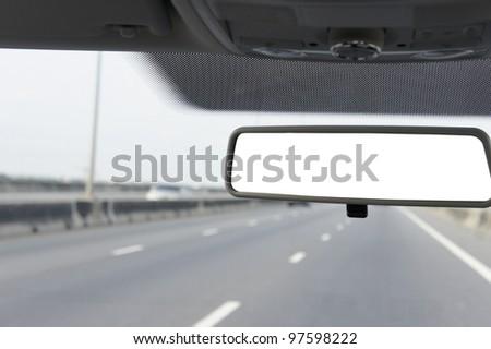 Close up Blank Car mirror .