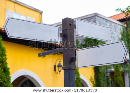 Close Up.Blank Directional Sign Post. #1198610398