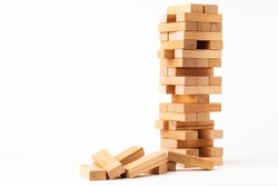Close up blocks wood game isolated on white background