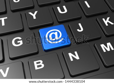 Close up blue button with at symbol on black keyboard: 3D illustration Сток-фото ©