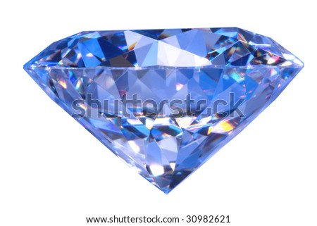 Close-up blue diamond - stock photo
