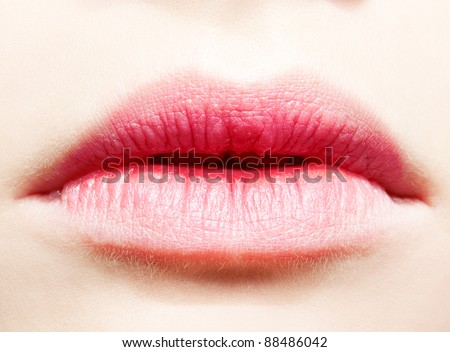 close-up body part portrait of beautiful woman's lower part of face with healthy skin
