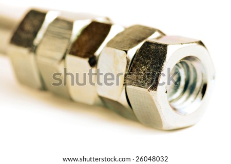 close up bolts and nuts isolated  on white