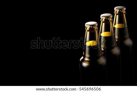 Close up bottles of beer on a black background. 3d illustration. #545696506