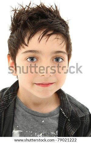 Close Up Boy with Hazel Eyes and Slight Smile Expression