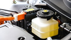 Close up brake and clutch fluid. Car maintenance and check the level of brake and clutch fluid. Car repair and  Car maintenance concept.