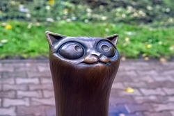 Close up bronze sculpture of a cat in Kostroma, Russia, to draw attention to homeless animals on a background of