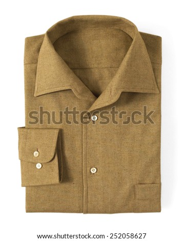 Close up Brown Folded Cotton Shirt with Collar, Isolated on White Background.