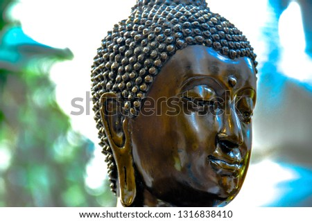 Close up. Buddha images in Thai temples.The Buddha statues or Buddha images are not only the physical representations or depiction of how Buddha was physically but are the symbol of Buddha's teachings