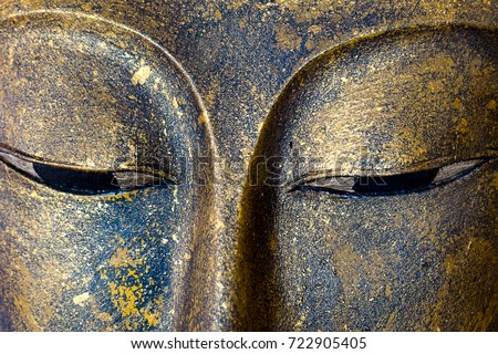 Close-up Buddha statue Face #722905405