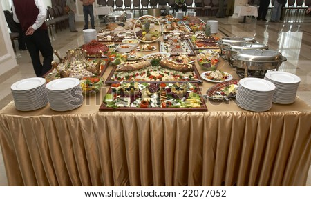 close up buffet table arrangement catering