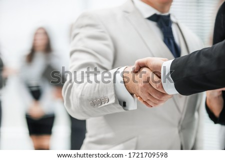 close up. business handshake on office background.