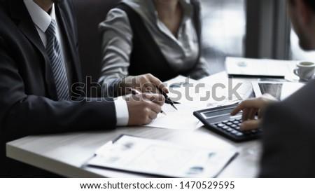 close up.business team analyzing financial data. teamwork