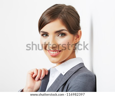 Close up business woman face portrait isolated on white background. Smiling female model office suit dressed. - stock photo