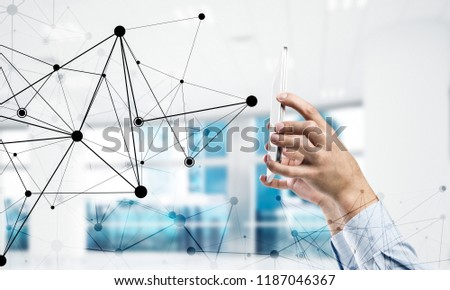 Close up businessman hand using smart phone and connection lines as concept. 3d rendering #1187046367