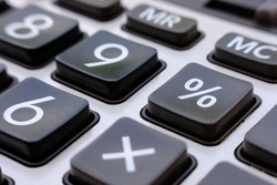 close up calculator and macro calculator with number, business and finance concept