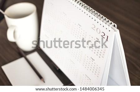 Close up calendar 2021 on desktop  #1484006345