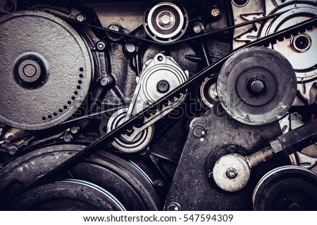 close-up car engine, internal combustion engine.