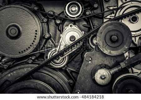 close-up car engine, internal combustion engine. black and white photo
