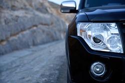 Close up Car head light in the Jais Mountain,Jebel Jais, Ras Al Khaimah, United Arab Emirates